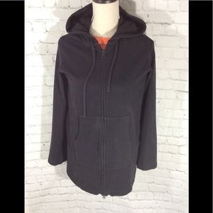 EILEEN FISHER HOODED SWEAT JACKET WORKOUT BLACK M